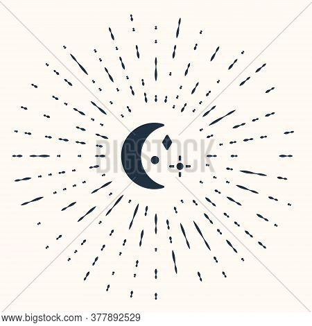 Grey Moon And Stars Icon Isolated On Beige Background. Cloudy Night Sign. Sleep Dreams Symbol. Night