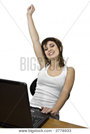 Victorious Girl With Laptop Computer