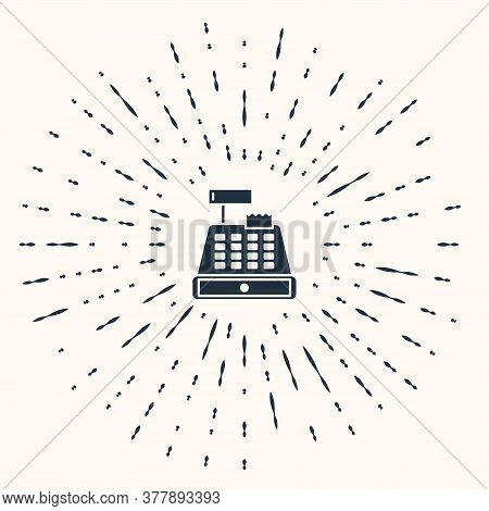 Grey Cash Register Machine With A Check Icon Isolated On Beige Background. Cashier Sign. Cashbox Sym