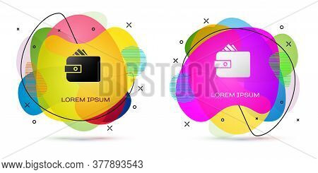 Color Wallet With Stacks Paper Money Cash Icon Isolated On White Background. Purse Icon. Cash Saving
