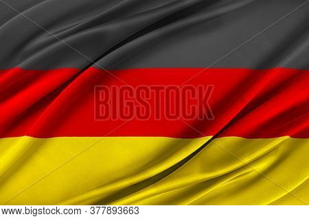 Colorful German Flag Waving In The Wind. High Quality Illustration.