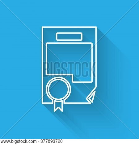 White Line Certificate Template Icon Isolated With Long Shadow. Achievement, Award, Degree, Grant, D