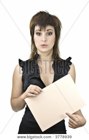 Girl In Black Pointing At A Blank Sign