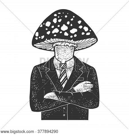 Amanita Fly Agaric Toxic Mushroom Head Businessman Sketch Engraving Vector Illustration. T-shirt App