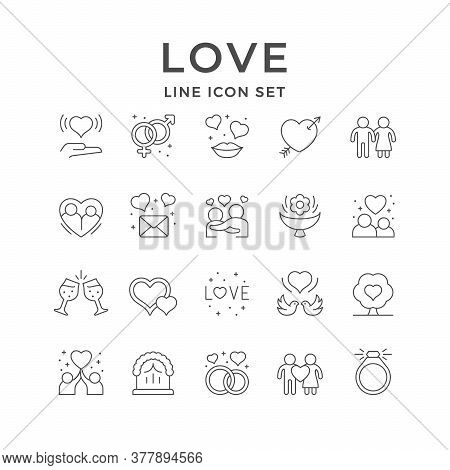 Set Line Icons Of Love And Romance Isolated On White. Glass Clinking, Gender Symbol, Kiss, Couple, H