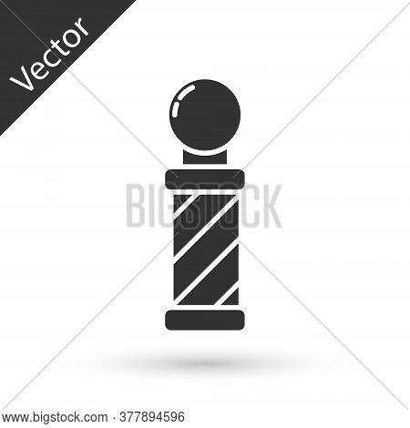 Grey Classic Barber Shop Pole Icon Isolated On White Background. Barbershop Pole Symbol. Vector Illu