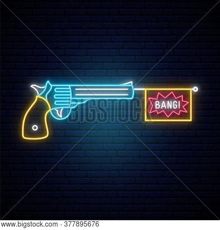 Bang Bang Gun Neon Sign. Pop Art Design Template  In Neon Style. Neon Signboard With Retro Revolver.