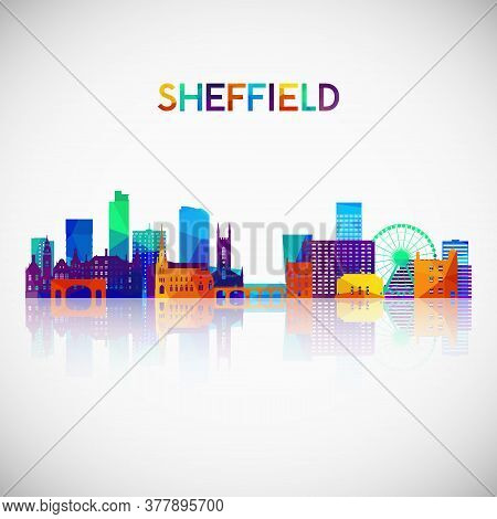 Sheffield Skyline Silhouette In Colorful Geometric Style. Symbol For Your Design. Vector Illustratio