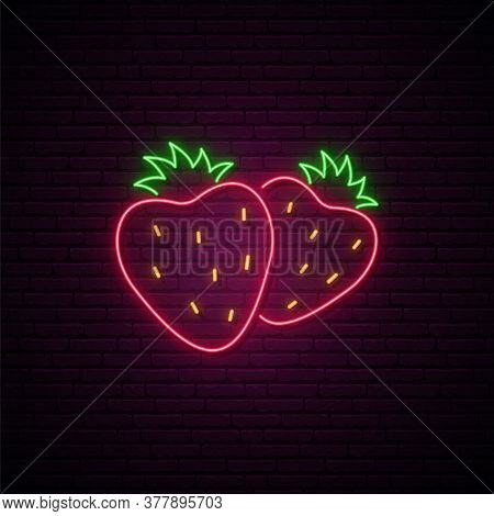 Strawberry Neon Sign. Two Glowing Strawberries Isolated On Dark Brick Wall Background. Summer Berrie