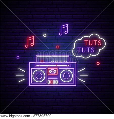 Retro Tape Recorder Neon Sign. Glowing Neon Illustration In Trendy 80s-90s Neon Style. Night Clun Ne