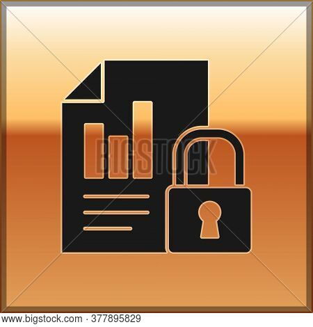 Black Document And Lock Icon Isolated On Gold Background. File Format And Padlock. Security, Safety,