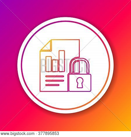 Color Line Document And Lock Icon Isolated On Color Background. File Format And Padlock. Security, S