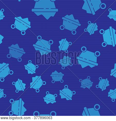 Blue Coal Mine Trolley Icon Isolated Seamless Pattern On Blue Background. Factory Coal Mine Trolley.