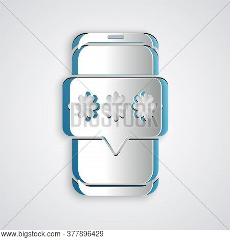 Paper Cut Mobile And Password Protection Icon Isolated On Grey Background. Security, Safety, Persona