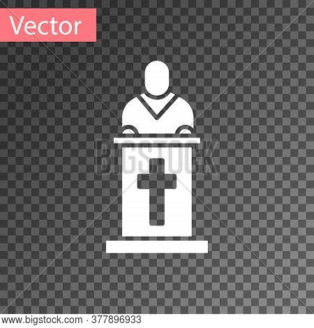 White Church Pastor Preaching Icon Isolated On Transparent Background. Vector Illustration