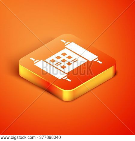 Isometric Decree, Paper, Parchment, Scroll Icon Icon Isolated On Orange Background. Chinese Scroll.