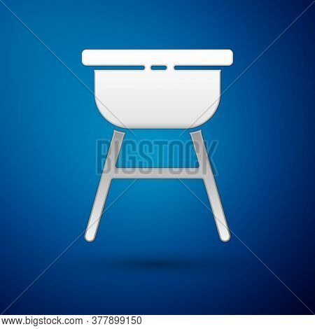 Silver Barbecue Grill Icon Isolated On Blue Background. Bbq Grill Party. Vector Illustration