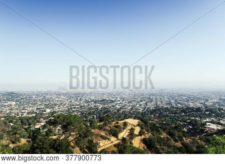 Panoramic View Of La Downtown And Suburbs From The Beautiful Griffith Observatory In Los Angeles, He