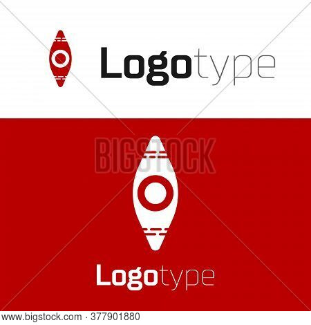 Red Kayak And Paddle Icon Isolated On White Background. Kayak And Canoe For Fishing And Tourism. Out