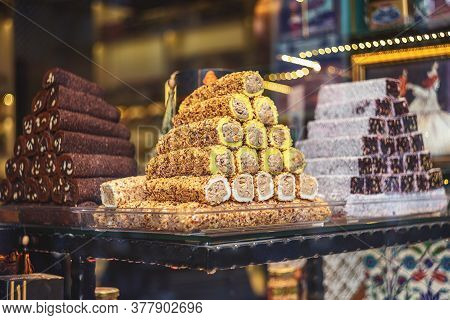Showcase With Various Pieces Of Turkish Delight Lokum On Plates