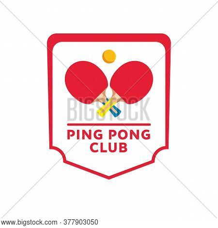 Ping-pong Rackets And Ball Isolated Banner. Table Tennis Emblem, Sport Club Symbol. Vector Illustrat