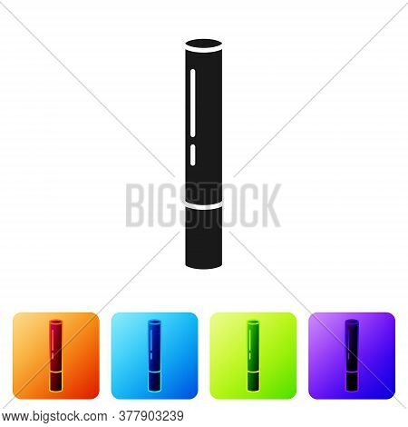 Black Marijuana Joint, Spliff Icon Isolated On White Background. Cigarette With Drug, Marijuana Ciga