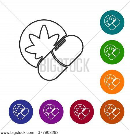 Black Line Herbal Ecstasy Tablets Icon Isolated On White Background. Set Icons In Color Circle Butto