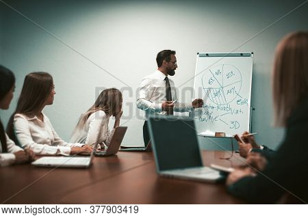 Business Team At Presentation In Office Boardroom. Speaking Businessman Shows Pie Chart Pointing On