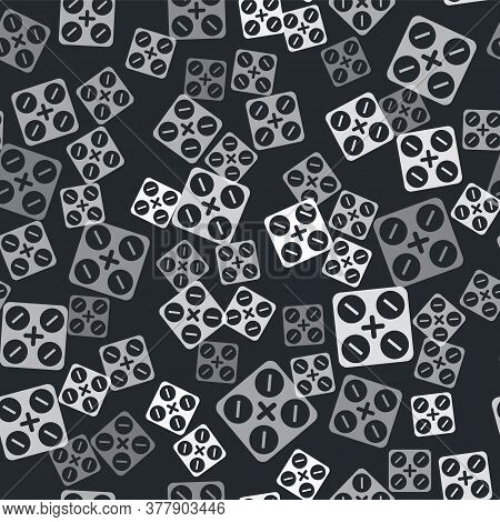 Grey Medical Pills With Marijuana Or Cannabis Leaf Icon Isolated Seamless Pattern On Black Backgroun