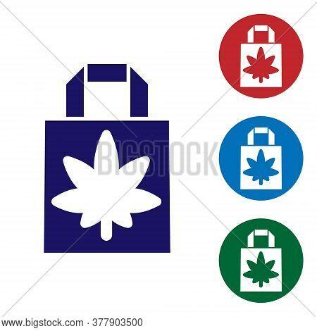 Blue Shopping Paper Bag Of Medical Marijuana Or Cannabis Leaf Icon Isolated On White Background. Buy