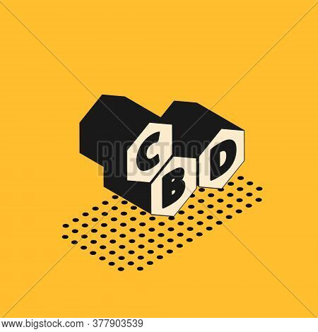 Isometric Cannabis Molecule Icon Isolated On Yellow Background. Cannabidiol Molecular Structures, Th
