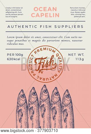 Ocean Fish Abstract Vector Packaging Design Or Label. Modern Typography Banner, Hand Drawn Capelin S
