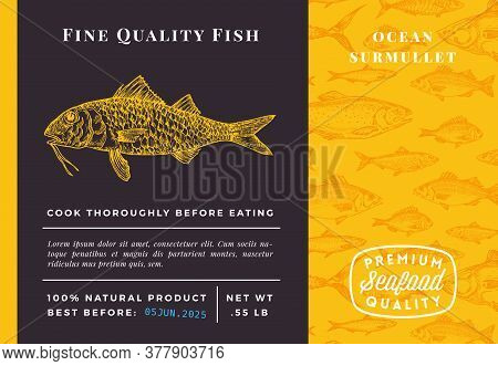 Premium Quality Surmullet Abstract Vector Packaging Design Or Label. Modern Typography And Hand Draw