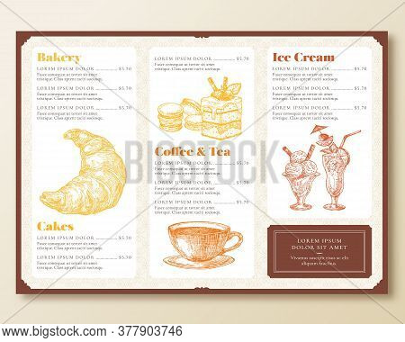 Restaurant Or Cafe Menu Template. Retro Style Design Layout With Hand Drawn Croissant, Cake, Ice Cre