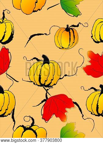 Pumpkins With Leaves In Autumn, Seamless Background, Vector Illustration, Doodle Drawing Style