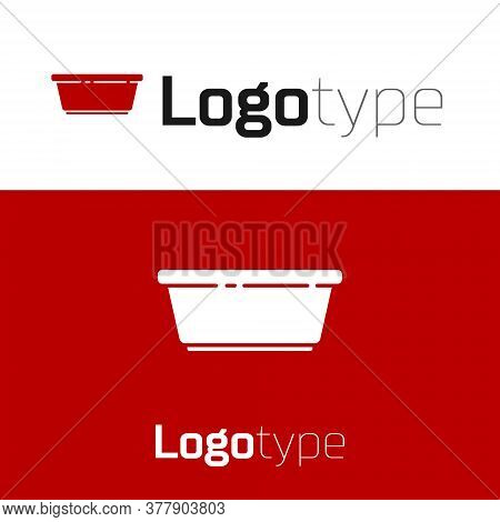 Red Plastic Basin Icon Isolated On White Background. Bowl With Water. Washing Clothes, Cleaning Equi