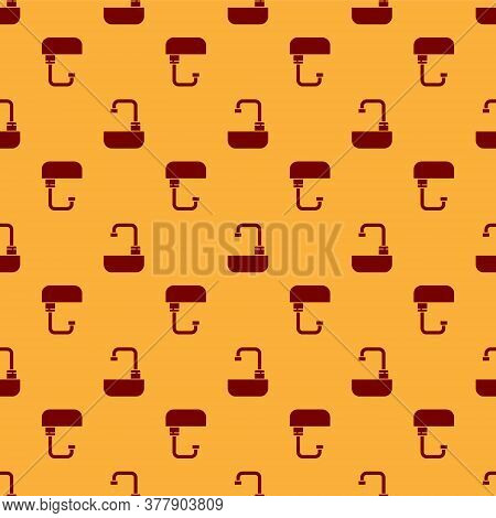 Red Washbasin With Water Tap Icon Isolated Seamless Pattern On Brown Background. Vector Illustration