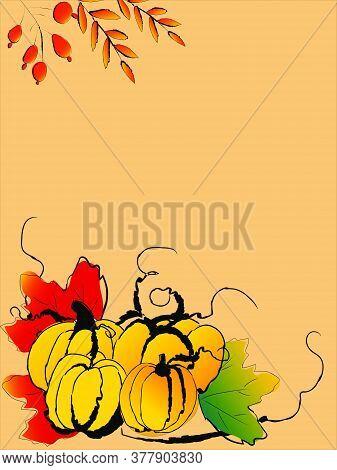 Doodle Drawing Image Of Pumpkins, Vector Item Illustration For Autumn