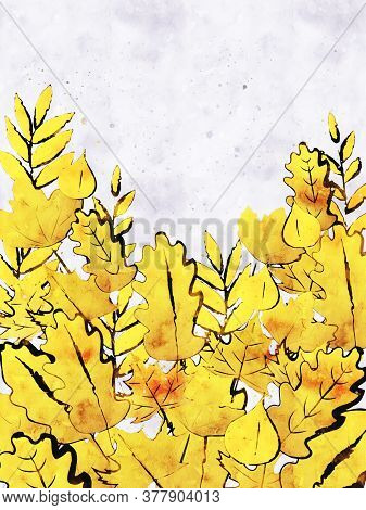 Autumn Leaves Background In Yellow Shades, Digital Watercolor Painting