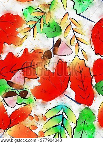 Autumn Leaves Background, Fall Season Image,  Digital Watercolor Painting
