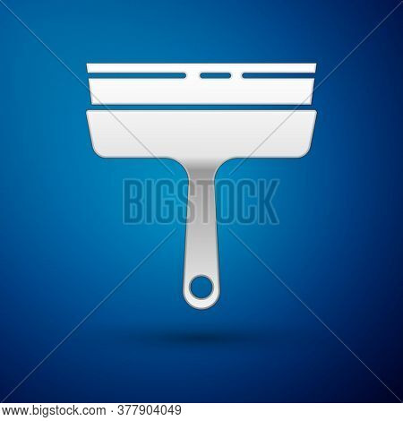 Silver Cleaning Service With Of Rubber Cleaner For Windows Icon Isolated On Blue Background. Squeege