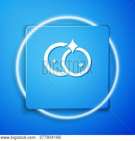 White Washing Dishes Icon Isolated On Blue Background. Cleaning Dishes Icon. Dishwasher Sign. Clean