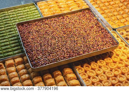 Baklava With Pistachio In Assortment. Mixed Turkish Traditional Delight