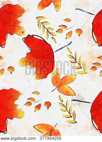 Autumn Maple Leaves Background, Fall Season Illustration, Digital Watercolor Painting