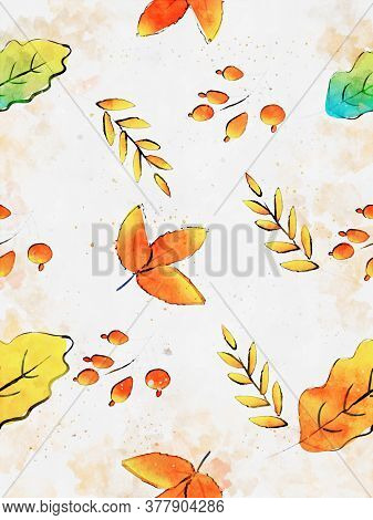 Autumn Leaf With Berry Background, Fall Season Image, Digital Watercolor Painting