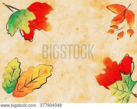 Autumn Leaves Background For Social Media Posting, Digital Watercolor Painting