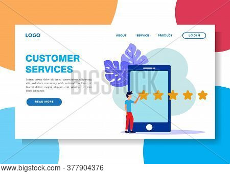 Vector Illustration, Business People In The Star Pressing Menu, Customer Review Ratings, Different P