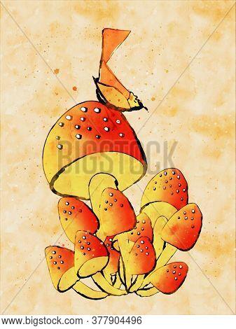 Mushrooms And Bird In Autumn, Digital Watercolor Painting