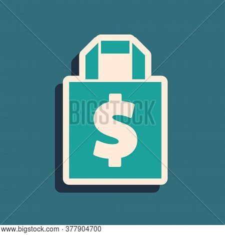 Green Shoping Bag And Dollar Symbol Icon Isolated On Green Background. Handbag Sign. Woman Bag Icon.