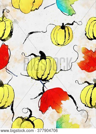 Pumpkins With Leaves In Autumn, Fall Season Illustration, Digital Watercolor Painting